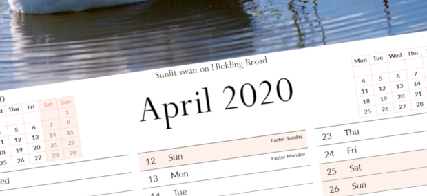 Printed Products | April 2020 calendar featuring Hickling Broad in Norfolk
