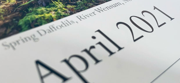 Printed Products | April 2021 calendar featuring Spring Daffodils on the River Wensum Norwich