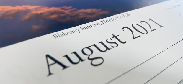 Printed Products | August 2021 calendar featuring a Sunrise at Blakeney, North Norfolk