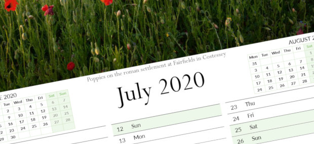 Printed Products | July 2020 calendar featuring poppy fields in Costessey Norwich