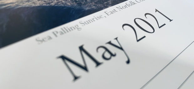 Printed Products | May 2021 calendar featuring Sea Palling on the Norfolk Coast