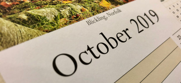 Printed Products | October 2019 calendar featuring Blickling near Norwich in Norfolk