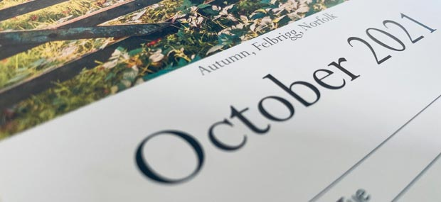 Printed Products   October 2021 calendar featuring Felbrigg, Norfolk