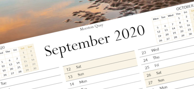 Printed Products | September 2020 calendar featuring Morston Quay on the North Norfolk Coast