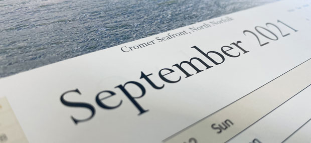 Printed Products | September 2021 calendar featuring the sea front in Cromer, North Norfolk