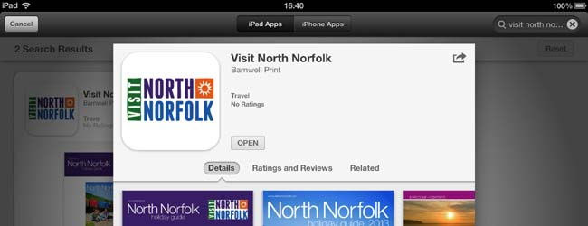 A screen grab from the iTunes store showing the new Visit North Norfolk iPad App