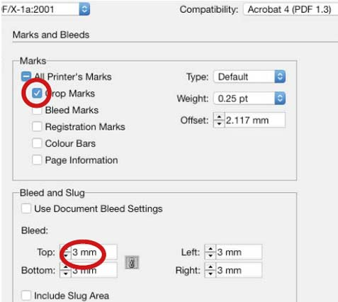 Using bleed in page make up for print ready files