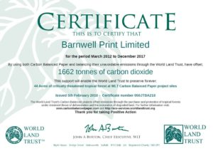Carbon Balanced Printing in Norwich, Norfolk | World Land Trust Certificate 2012-2017