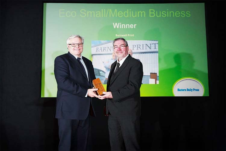 Barnwell Print at Norwich & Norfolk Eco Awards 2018 - winner in the SME category